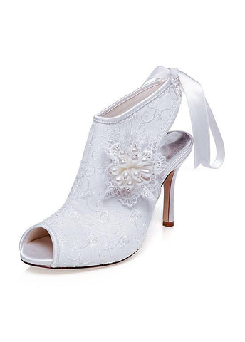 Amazing Satin Upper Peep Toe Stiletto Heels Wedding Shoes With Pearls