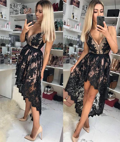 Black V Neck Lace High Low Prom Dress