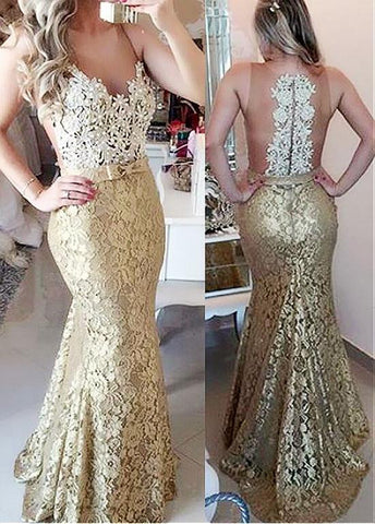Scoop Mermaid Evening Dresses With Beaded Lace Appliques