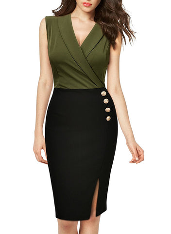 Workwear Business Lapel Sleeveless Cocktail Party Pencil Dress