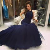 Beading Navy Mermaid Tulle Prom Dress