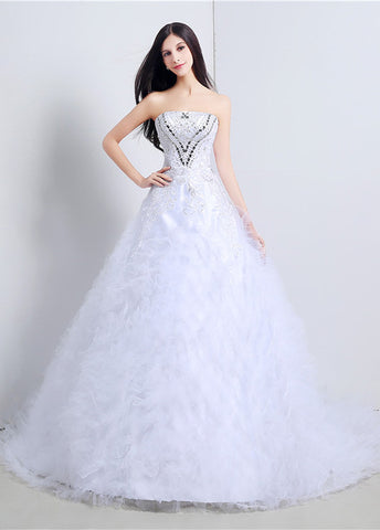 Sparkling Tulle Strapless A-line Wedding Dresses With Lace Appliques