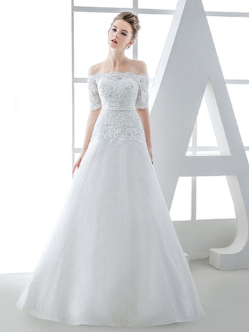 Short Sleeve Off-The-Shoulder Lace Tulle A-Line Wedding Dress