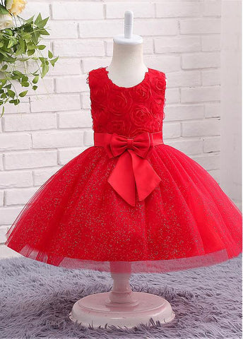 Festival Sparkling Tulle Jewel Neckline Ball Gown Flower Girl Dresses With Flowers & Bowknot