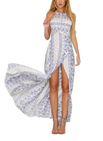 Blue Halter High Slit Beach Party Maxi Dress
