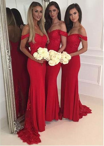 Off-the-shoulder Neckline Sheath/Column Bridesmaid Dresses With Beaded Lace Appliques