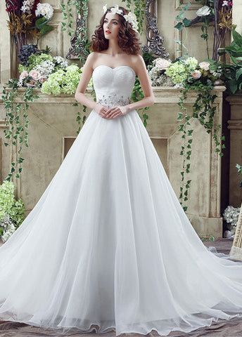 Gorgeous Organza Sweetheart Neckline A-Line Wedding Dresses With Beads & Rhinestones