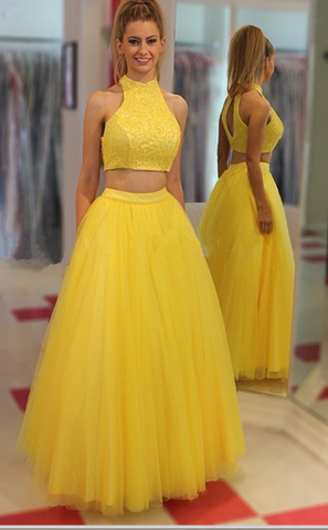 Yellow Tulle Two Piece Long Prom Dresses