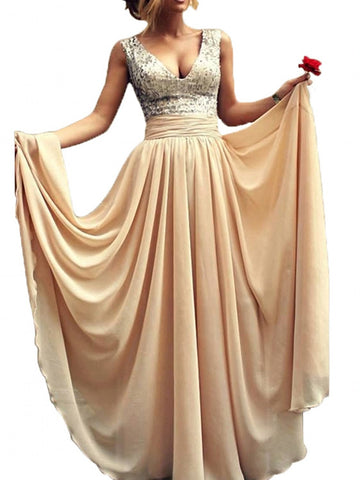 Deep V-neck Sequins Prom Dress