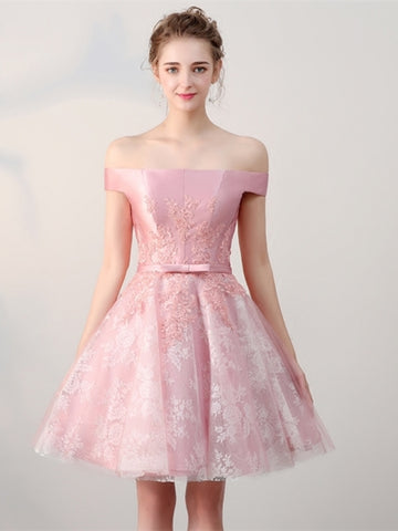 Lace Off-the-Shoulder Pink Sashes Mini Homecoming Dress
