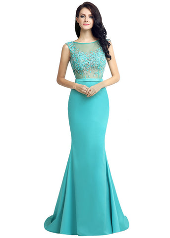 Delicate Tulle & Silk Satin Bateau Neckline Mermaid Formal Dresses With Beadings