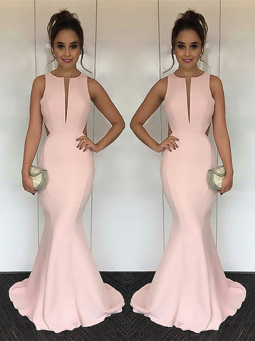 Mermaid Jewel With Ruched Satin Prom Dress