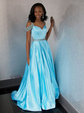 A-Line Sweetheart Blue Beading Satin Prom Dress