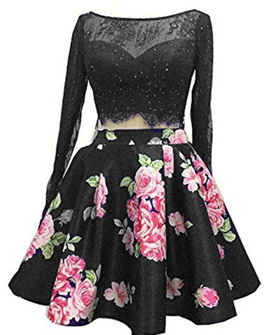 Two Piece Floral Cocktail Party Dress