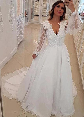 Long Sleeves Chiffon V-neck 3D Lace Appliques A-line Wedding Dress