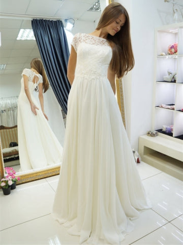 Short Sleeves Lace Wedding Dress