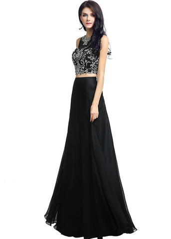 Romantic Chiffon & Tulle Illusion Jewel Neckline Two-piece A-line Evening Dresses With Beadings