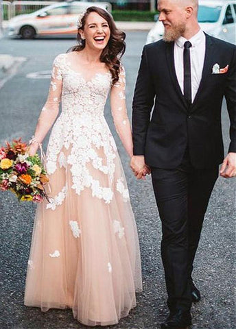 Long Sleeves Long Sleeve Champagne  Evening Dress