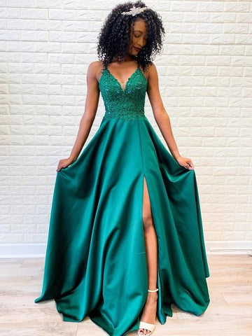 A Line V Neck Backless Lace Green Prom Dresses with Split