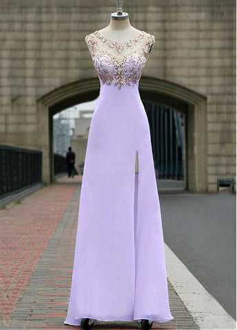 Chic Tulle & Chiffon Bateau Neckline Floor-length A-line Prom Dress