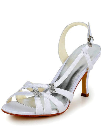 Pretty Satin Upper Open Toe Stiletto Heels Bridal Shoes With Rhinestones