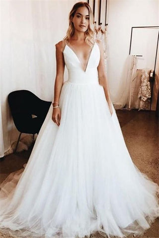 Tulle See Through Cheap Sexy V-Neck Appliques Bridal Wedding Dress