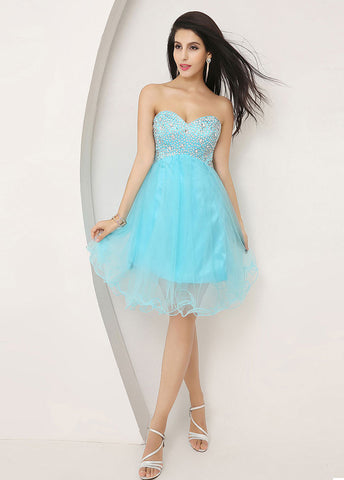 Gorgeous Tulle Sweetheart Neckline Short A-line Homecoming Dresses