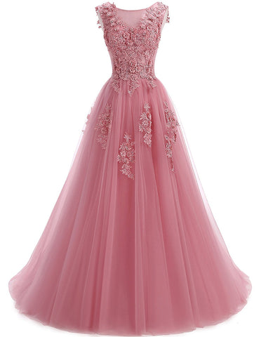 Floral Pink Tulle Long Prom Dress