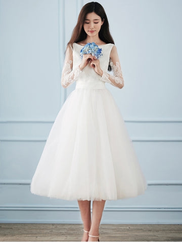 Appliques Long Sleeve Tea-Length Wedding Dress