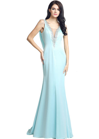 Marvelous Lycra V-neck Neckline Illusion Back Sheath Evening Dresses With Beadings
