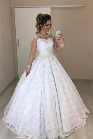 Tulle A Line Jewel Sheer Neck Floral Long Sleeves Wedding Dress