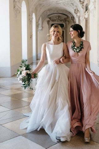 A Line Tulle Ruffles Round Neck Satin Top Wedding Dress