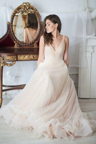 V Neck Tulle Ruching A Line Champagne Pink Wedding Dress