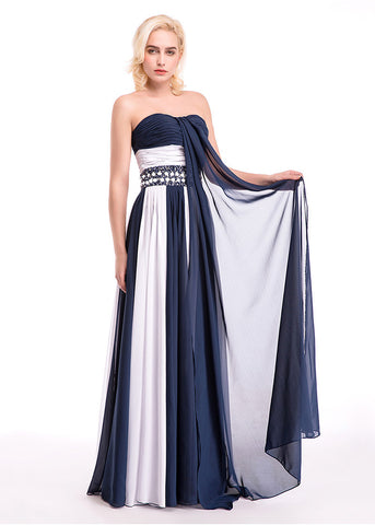 Charming Chiffon Strapless Neckline A-Line Color Block Evening Dresses With Beads