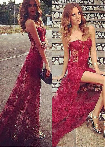 Graceful Lace Strapless Neckline Floor-length Sheath Evening Dresses
