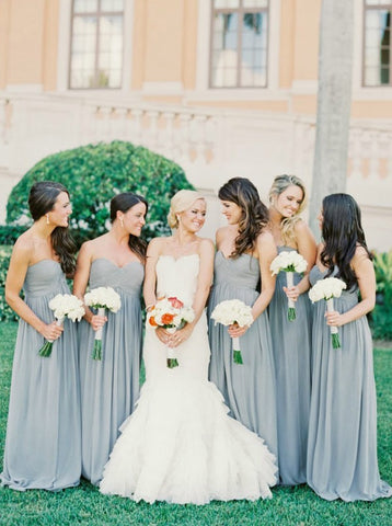 Blue Long Sweetheart Chiffon Bridesmaid Dress