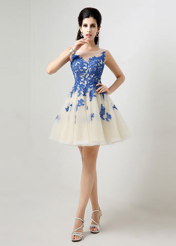 Unique Tulle Bateau Neckline Short A-line Homecoming Dresses With Lace Appliques