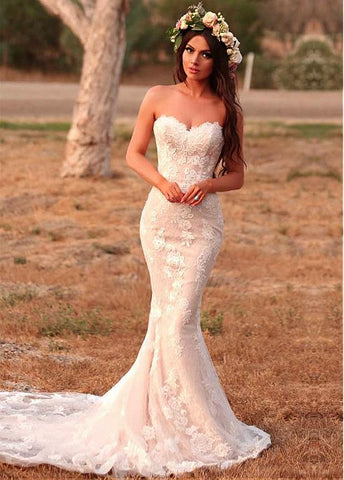 Lace Sweetheart Beading Appliques Mermaid Wedding Dress