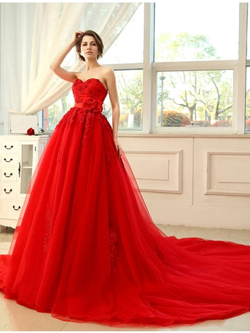 Red Beading Lace Tulle Red A-Line Wedding Dress