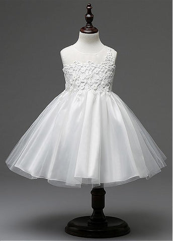 Elegant Tulle Scoop Neckline Ball Gown Flower Girl Dresses With Lace Appliques