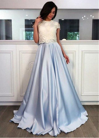 Satin Jewel Blue & White Two Piece  A-line Prom Dress