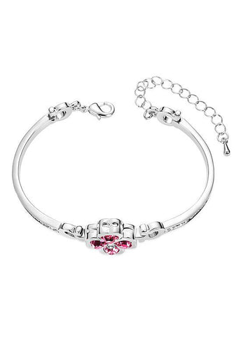 Rose Red Austrian Crystal Four-Leaf Clover Bracelet