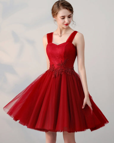 Red Appliques Beading Lace Straps Short Homecoming Dress