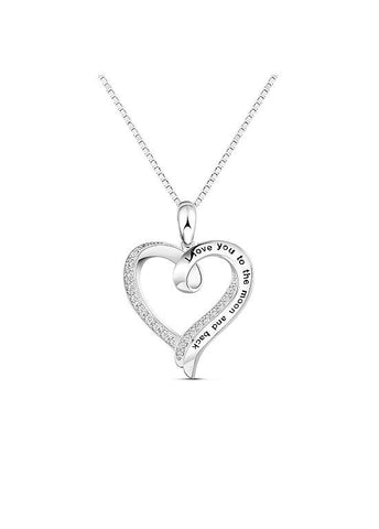 Silver Elegant Hollowed Heart Necklace