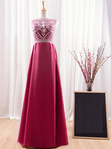 A-Line Beaded Bateau Crystal Court Train Evening Dress