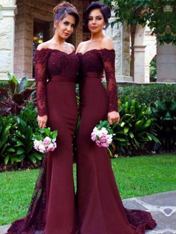 Mermaid Burgundy  Long Sleeves Satin Bridesmaid Dress
