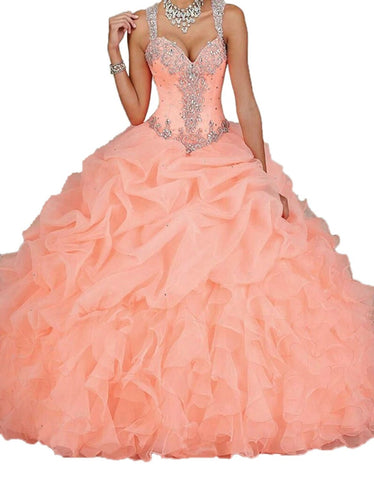 Spaghetti Beading Pearls Sheer Back Ball Gown Quinceanera Dress