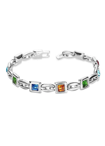 Square Multicolor Austrian Crystals Platinum