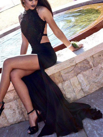 Black Halter Sweep/Brush Train Jersey Prom Dress