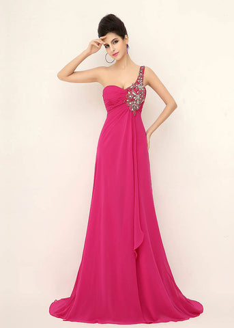 Exquisite Chiffon One-Shoulder Neckline Sheath Prom Dresses With Beading